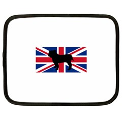 Bulldog Silhouette on flag Netbook Case (XL)  by TailWags