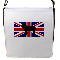 Bulldog Silhouette on flag Flap Messenger Bag (S) by TailWags