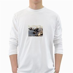 Cairn Terrier Sleeping On Beach White Long Sleeve T Shirts by TailWags