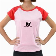 Peeping Boston Terrier Women s Cap Sleeve T-Shirt by TailWags