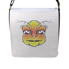 Angry Monster Portrait Drawing Flap Messenger Bag (L)  by dflcprints