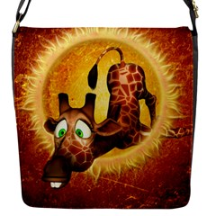I m Waiting For You, Cute Giraffe Flap Messenger Bag (S) by FantasyWorld7