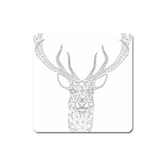 Modern Geometric Christmas Deer Illustration Square Magnet by Dushan