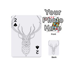 Modern Geometric Christmas Deer Illustration Playing Cards 54 (Mini)  by Dushan