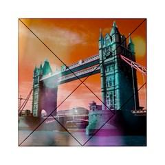 London Tower Bridge, Bokeh Orange Acrylic Tangram Puzzle (6  x 6 ) by MoreColorsinLife