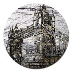 Metal Art London Tower Bridge Magnet 5  (round) by MoreColorsinLife