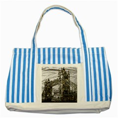 Metal Art London Tower Bridge Striped Blue Tote Bag  by MoreColorsinLife