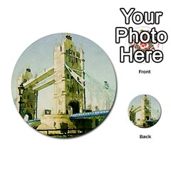 Watercolors, London Tower Bridge Multi Purpose Cards (round)