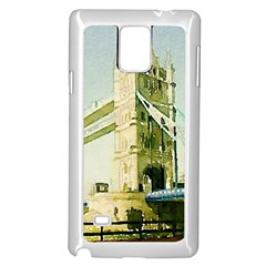 Watercolors, London Tower Bridge Samsung Galaxy Note 4 Case (White) by MoreColorsinLife