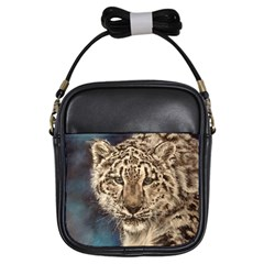 Snow Leopard Girls Sling Bags by ArtByThree