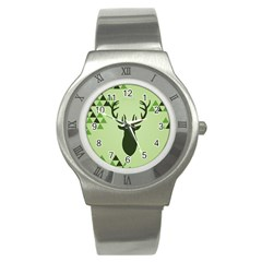 Modern Geometric Black And Green Christmas Deer Stainless Steel Watches by Dushan