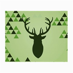 Modern Geometric Black And Green Christmas Deer Small Glasses Cloth (2 Side) by Dushan