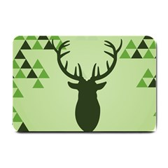 Modern Geometric Black And Green Christmas Deer Small Doormat  by Dushan