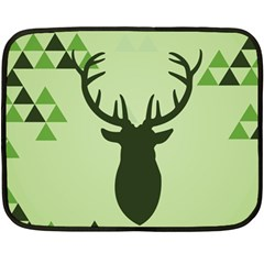 Modern Geometric Black And Green Christmas Deer Double Sided Fleece Blanket (mini)  by Dushan