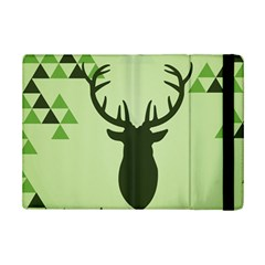 Modern Geometric Black And Green Christmas Deer iPad Mini 2 Flip Cases by Dushan