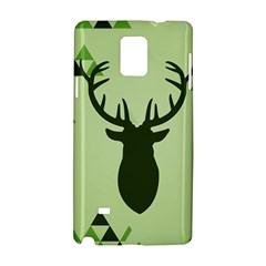 Modern Geometric Black And Green Christmas Deer Samsung Galaxy Note 4 Hardshell Case by Dushan