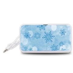 Winter Bokeh Blue Portable Speaker (White)  by MoreColorsinLife