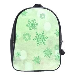 Winter Bokeh Green School Bags(large)  by MoreColorsinLife