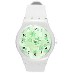 Winter Bokeh Green Round Plastic Sport Watch (m) by MoreColorsinLife
