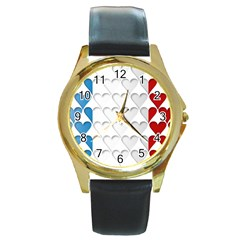 France Hearts Flag Round Gold Metal Watches by theimagezone