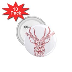 Modern Red Geometric Christmas Deer Illustration 1 75  Buttons (10 Pack) by Dushan