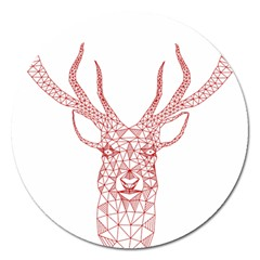 Modern Red Geometric Christmas Deer Illustration Magnet 5  (round) by Dushan