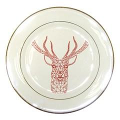 Modern Red Geometric Christmas Deer Illustration Porcelain Plates by Dushan