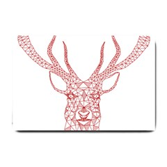 Modern Red Geometric Christmas Deer Illustration Small Doormat  by Dushan