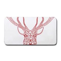 Modern Red Geometric Christmas Deer Illustration Medium Bar Mats by Dushan