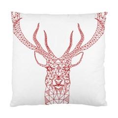 Modern Red Geometric Christmas Deer Illustration Standard Cushion Case (one Side)  by Dushan