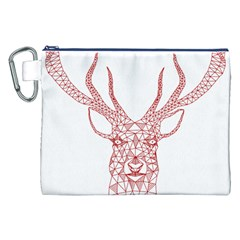 Modern Red Geometric Christmas Deer Illustration Canvas Cosmetic Bag (xxl)  by Dushan