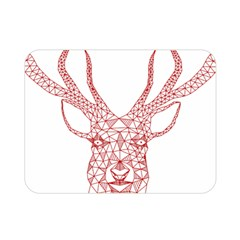 Modern Red Geometric Christmas Deer Illustration Double Sided Flano Blanket (mini)  by Dushan
