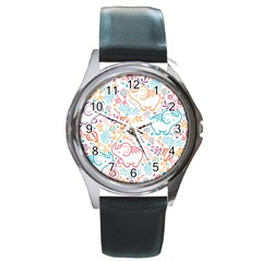 Cute Pastel Tones Elephant Pattern Round Metal Watches by Dushan
