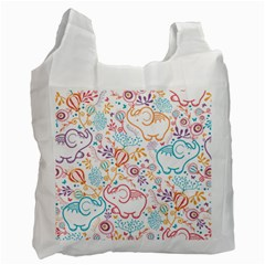 Cute Pastel Tones Elephant Pattern Recycle Bag (one Side) by Dushan