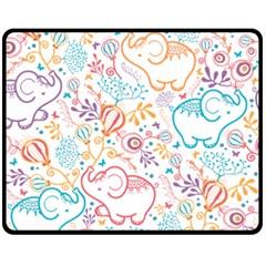 Cute Pastel Tones Elephant Pattern Fleece Blanket (medium)  by Dushan