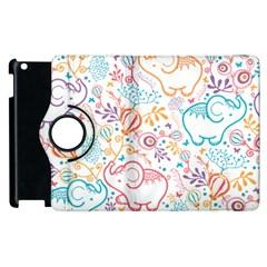 Cute Pastel Tones Elephant Pattern Apple Ipad 2 Flip 360 Case by Dushan