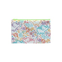 Cute pastel tones elephant pattern Cosmetic Bag (XS) by Dushan