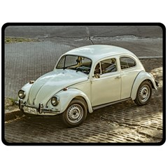 Classic Beetle Car Parked On Street Fleece Blanket (large)  by dflcprints