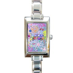 Summer Of Love   The 60s Rectangle Italian Charm Watches by MoreColorsinLife