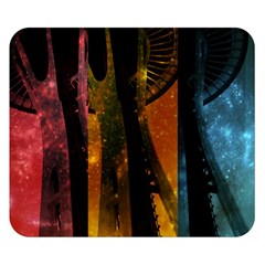 Colorful Space Needle Double Sided Flano Blanket (small)  by stineshop