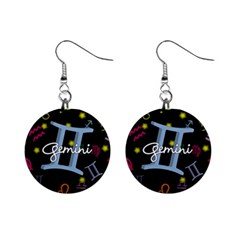 Gemini Floating Zodiac Sign Mini Button Earrings by theimagezone