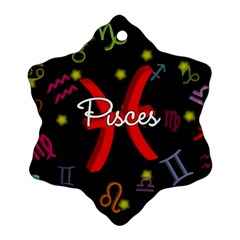 Pisces Floating Zodiac Sign Snowflake Ornament (2 Side) by theimagezone