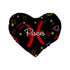 Pisces Floating Zodiac Sign Standard 16  Premium Flano Heart Shape Cushions by theimagezone