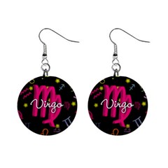 Virgo Floating Zodiac Sign Mini Button Earrings by theimagezone