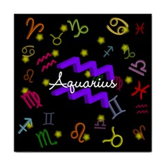 Aquarius Floating Zodiac Name Tile Coasters by theimagezone