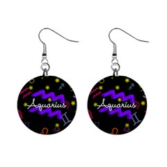 Aquarius Floating Zodiac Name Mini Button Earrings by theimagezone
