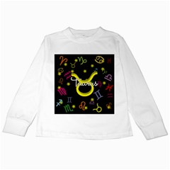 Taurus Floating Zodiac Name Kids Long Sleeve T-Shirts by theimagezone