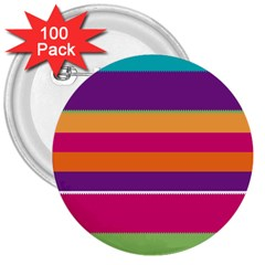 Jagged Stripes 3  Button (100 Pack) by LalyLauraFLM