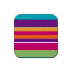 Jagged Stripes Rubber Square Coaster (4 Pack) by LalyLauraFLM