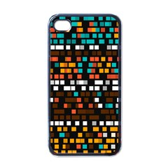 Squares Pattern In Retro Colors Apple Iphone 4 Case (black) by LalyLauraFLM